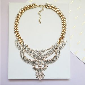 Gold Chain and Crystal Chandelier Bib Necklace